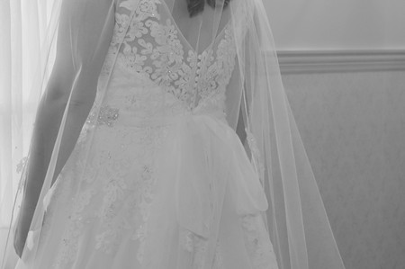 Rear View of a Bride in Her Wedding Dress