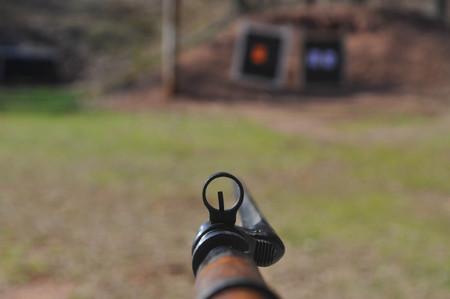 Aiming a Mosin Nagant Gun Rifle with the Bayonet Attached