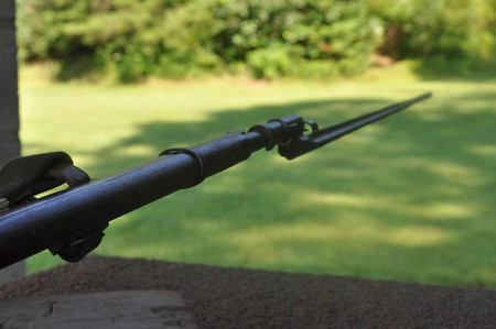 Aiming a Mosin Nagant Gun Rifle with the Bayonet Attached