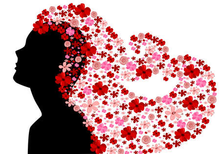 Black silhouette of woman with floral hair
