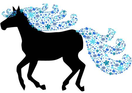 Black silhouette of horse with floral mane