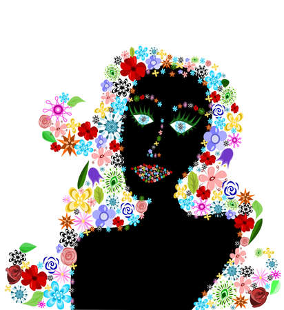 Black silhouette of woman head with floral hair