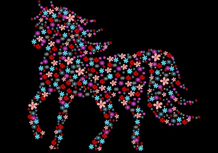 Silhouette of horse from flowers Illustration