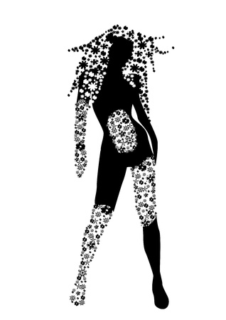 Floral silhouette of woman