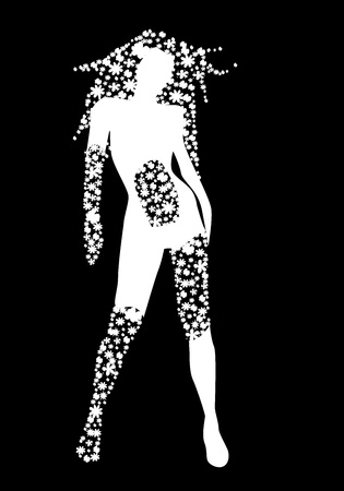 White silhouette of woman with flowers