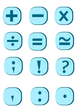 plus minus: Button icons Illustration