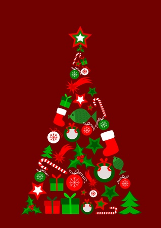 abstract background with christmas tree composed of christmas elements Illustration