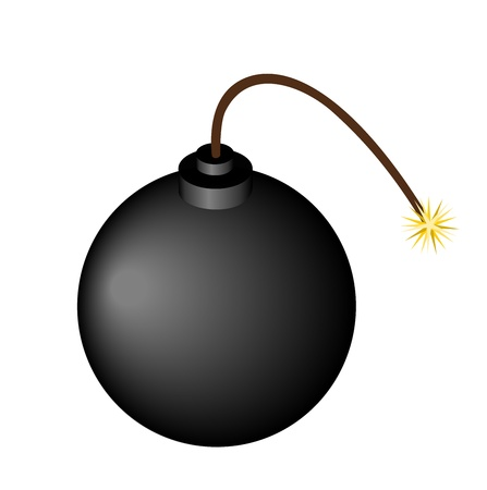 Illustration of bomb with burning fuse