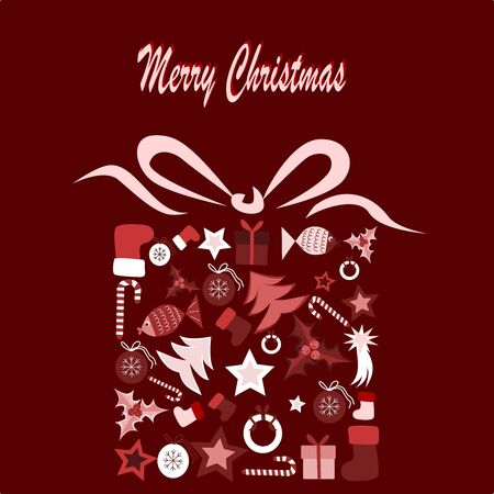 Illustration of christmas present composed of christmas elements Illustration