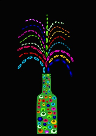 Bottle with fireworks Illustration