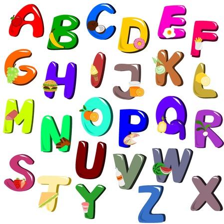 Food, vegetable, fruit and drinks alphabet Ilustrace