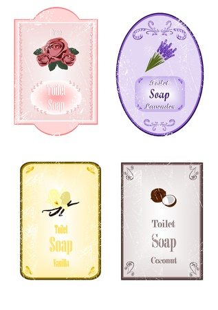 lavender flower: Soap stickers with scratches