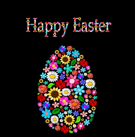 holiday season: Easter egg with flowers Illustration