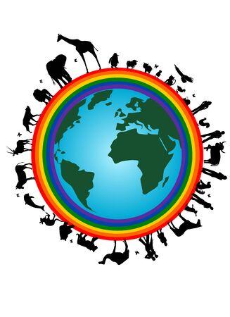 Rainbow earth Vector