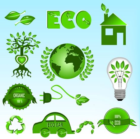 Eco icons set Stock Vector - 12490603