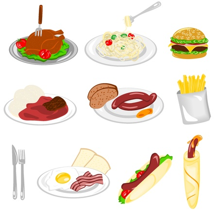 bacon art: Set of food Illustration