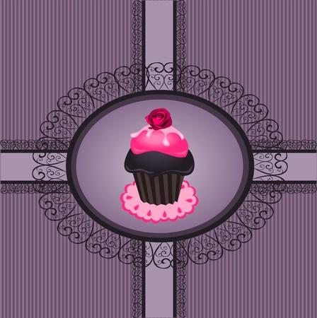 Cupcake vintage Vector