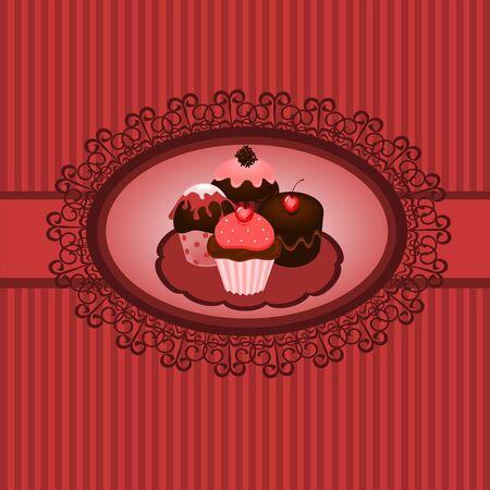 Cupcakes vintage Vector