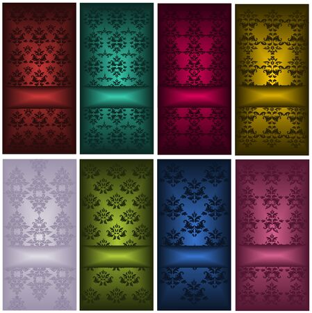 Set of cards with damask patterns Vector
