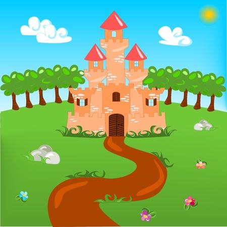castillos de princesas: Ilustración de dibujos animados del castillo