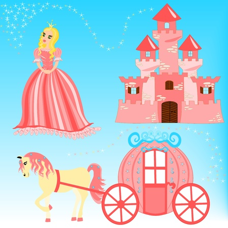 Cartoon illustration of fairytale set Vector