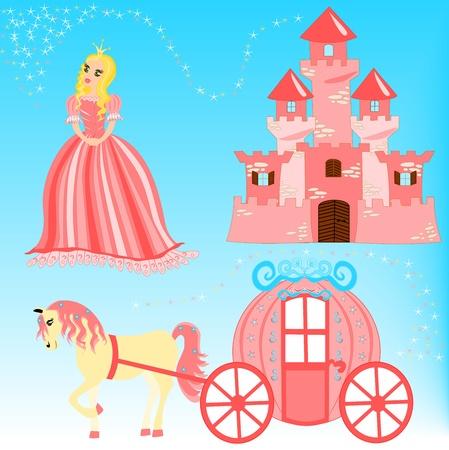 Cartoon illustration of fairytale set