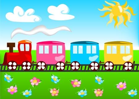 familia animada: Ilustración de dibujos animados de tren Vectores