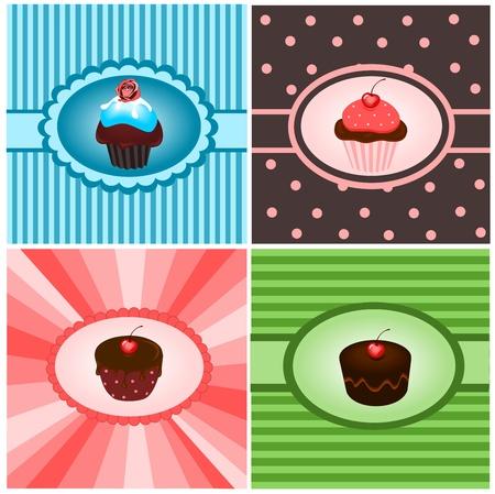 Set of cupcake vintages Vector