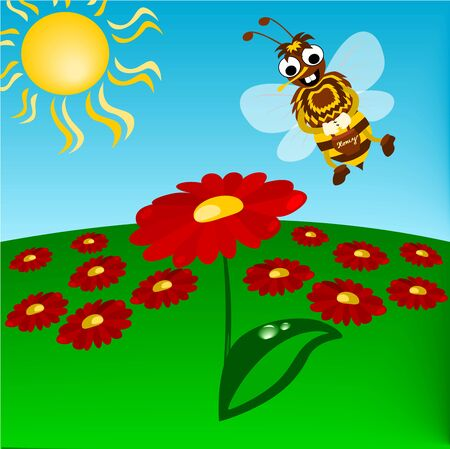 Humble-bee with flowers