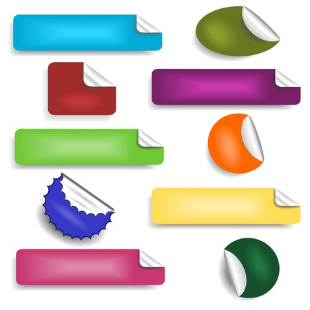 paper tags: Set of stickers Illustration