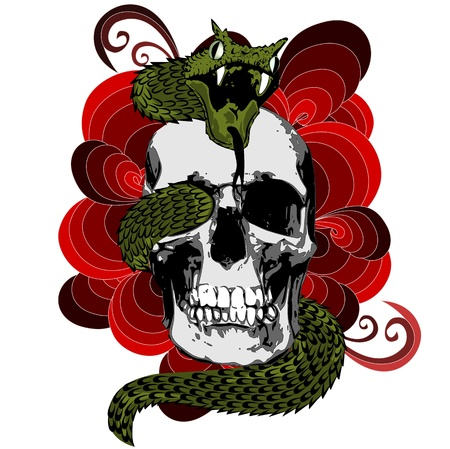 viper: Skull with snake Illustration