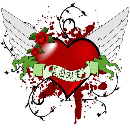 red winged: Heart