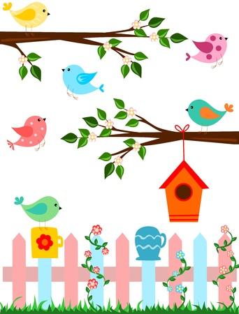birds in tree: Uccelli Vettoriali