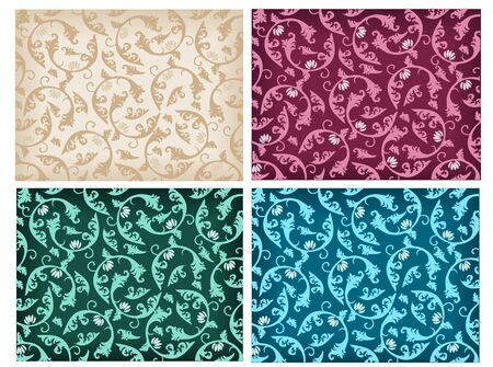 Set of damask patterns