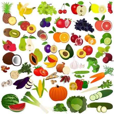 果実と野菜  イラスト・ベクター素材