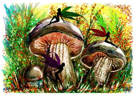 Fairy in mushroom forest. Fantastic landscape. Wax, gouache. Handmade.