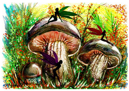 inedible: Fairy in mushroom forest. Fantastic landscape. Wax, gouache. Handmade.
