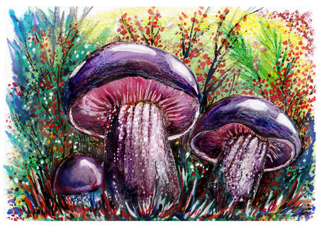 Blue mushrooms in the grass. Fantastic landscape. Wax, gouache. Handmade.