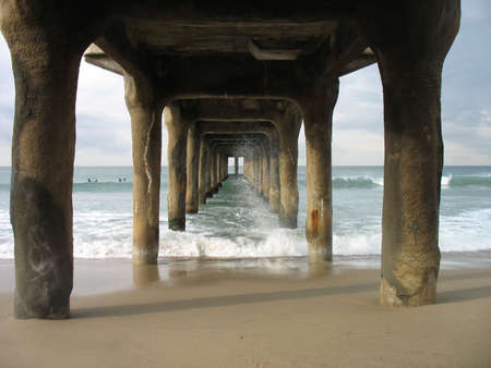 Under the pier in Manhattan Beach, California