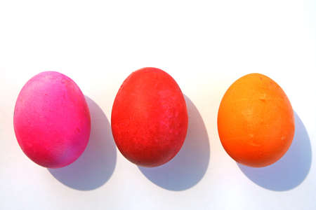 Three bright and colorful Easter eggs Stock Photo