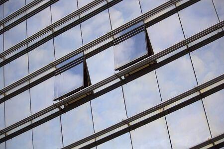 sky reflection: Sunset sky reflection in modern building