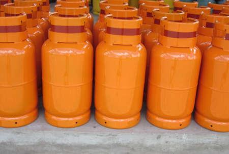 Orange gas cylinders