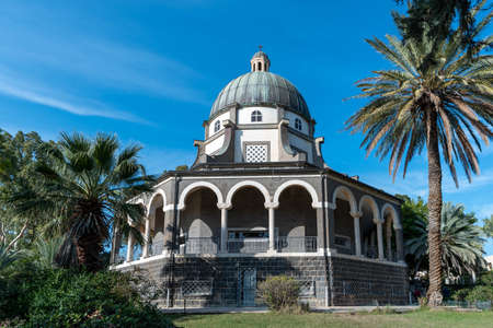 Church of the Beatitudes on the Mount of the Beatitudes above the Sea of Galilee.