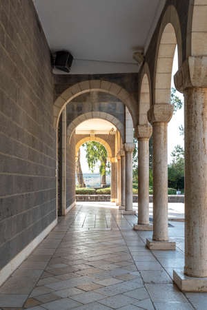 Church of the Beatitudes outer patio with arches.