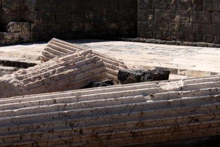 Fallen columns at Bet She'an National Park, Israel