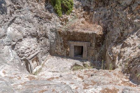 The cave of Yizhak Ze'ira son of Shim'on at Bet She'arim in Kiryat Tivon, Israel Imagens
