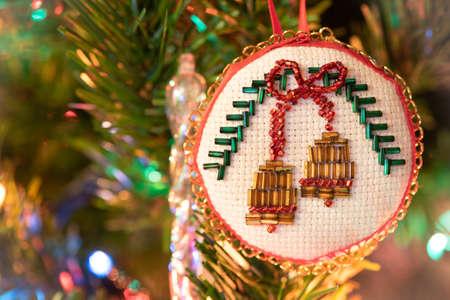 handmade beaded bells Christmas tree decoration, ornament. Christmas card.