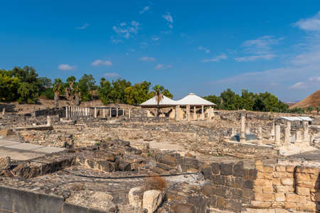 Overview of the ruins, the bath house area and the hill at Beit She`an in Israel