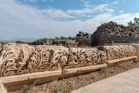Carved decorative limestone beams at Beit She'an National Park in Israel