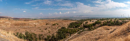 Panoramic view of the Jordan valley from Beit She'an in Israel